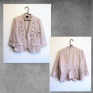 WHBM Tan Dressy Jacket Pop-Over Button Detail  12